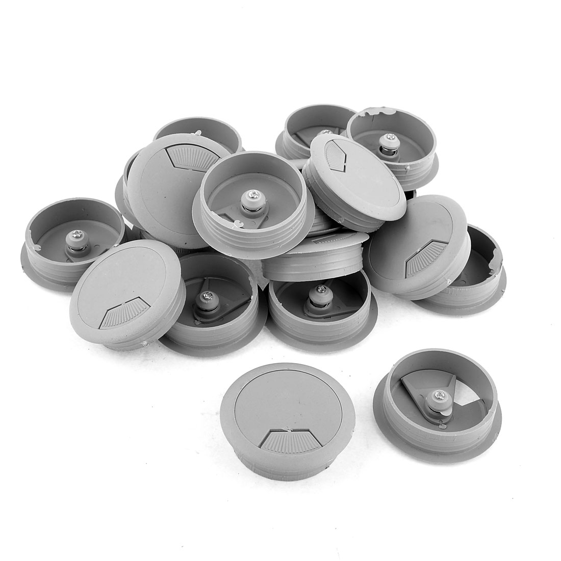 20 Pcs 50mm Gray Computer Desk Table Counter Top Cable Wire Grommets