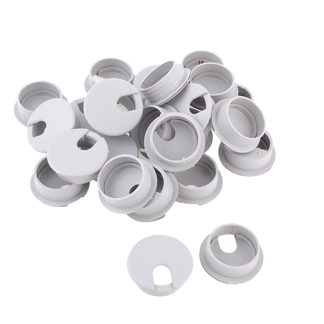 Office Computer Desk Gray Plastic 35mm Cable Grommet Wire Hole Cover 25 Pcs