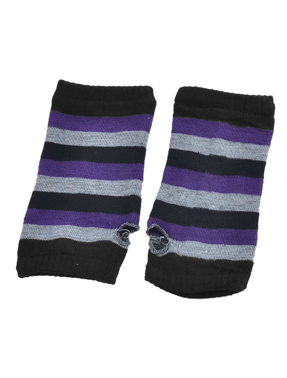 Women Stripe Pattern Elastic Fingerless Mitten Gloves Black Gray Purple Pair