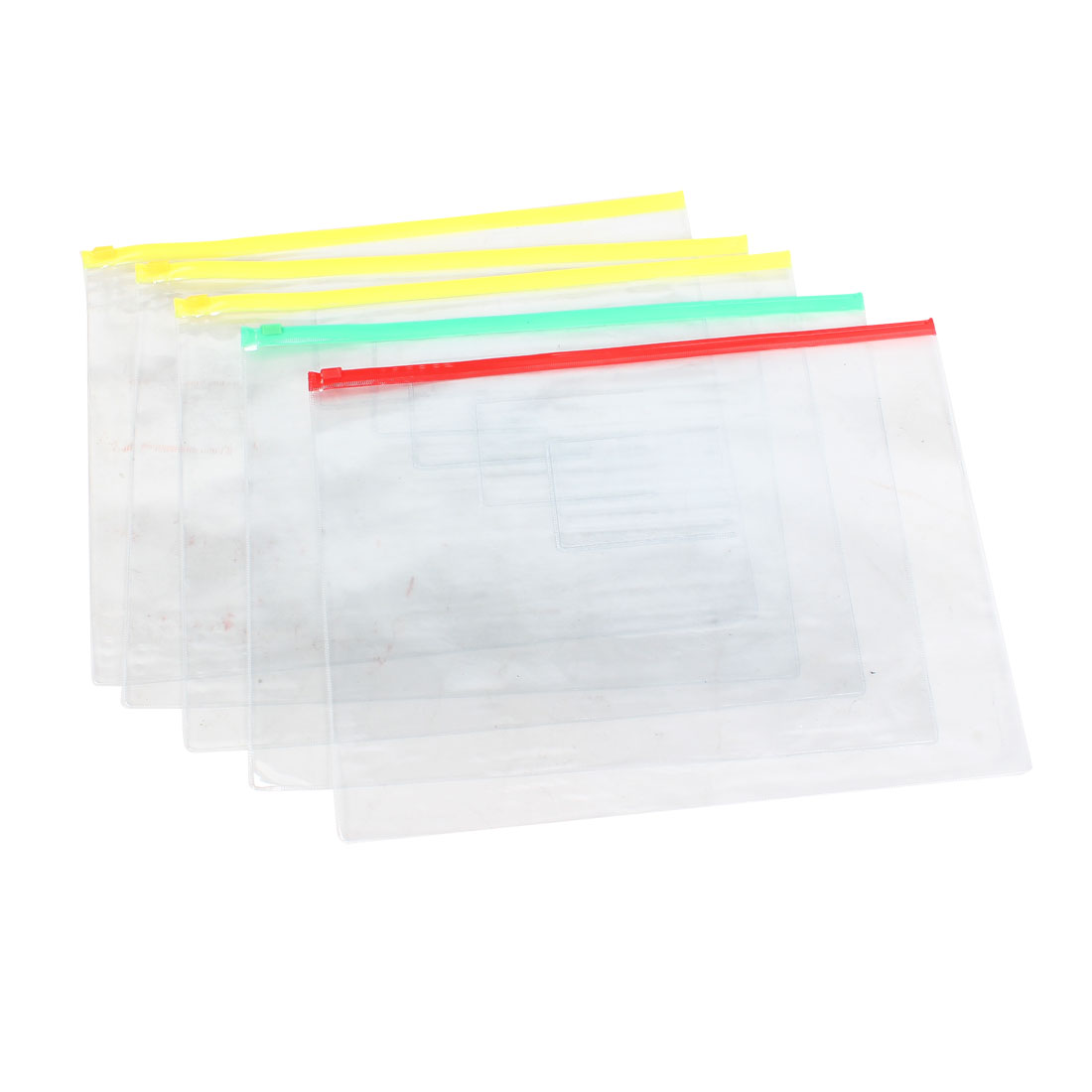 Plastic Water Resistant Pen A4 File Papers Ziplock Bags Folders Clear 5 Pcs