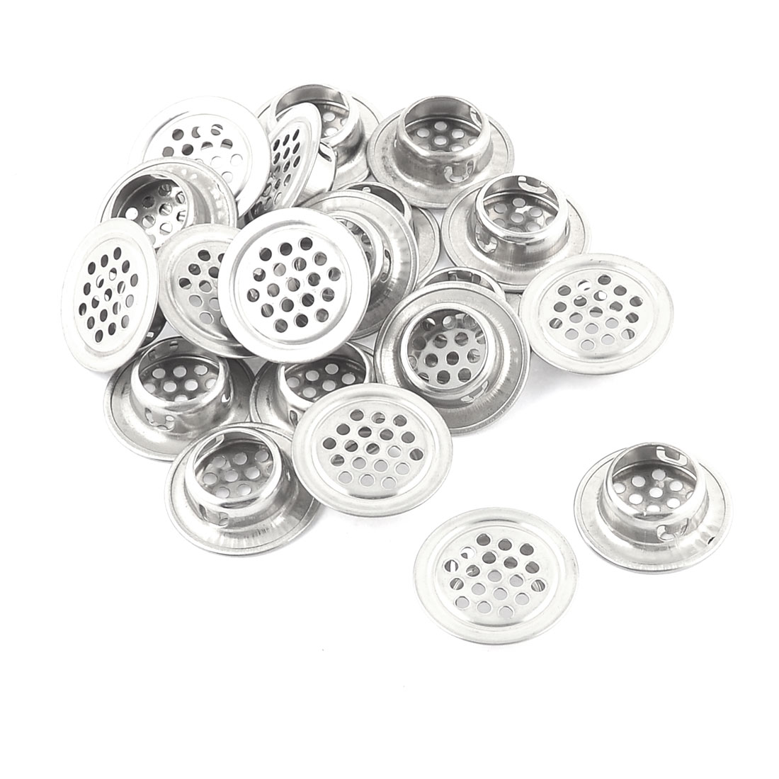 20 Pcs 29mm Dia Stainless Steel Round Mesh Hole Air Vent Louver Silver Tone
