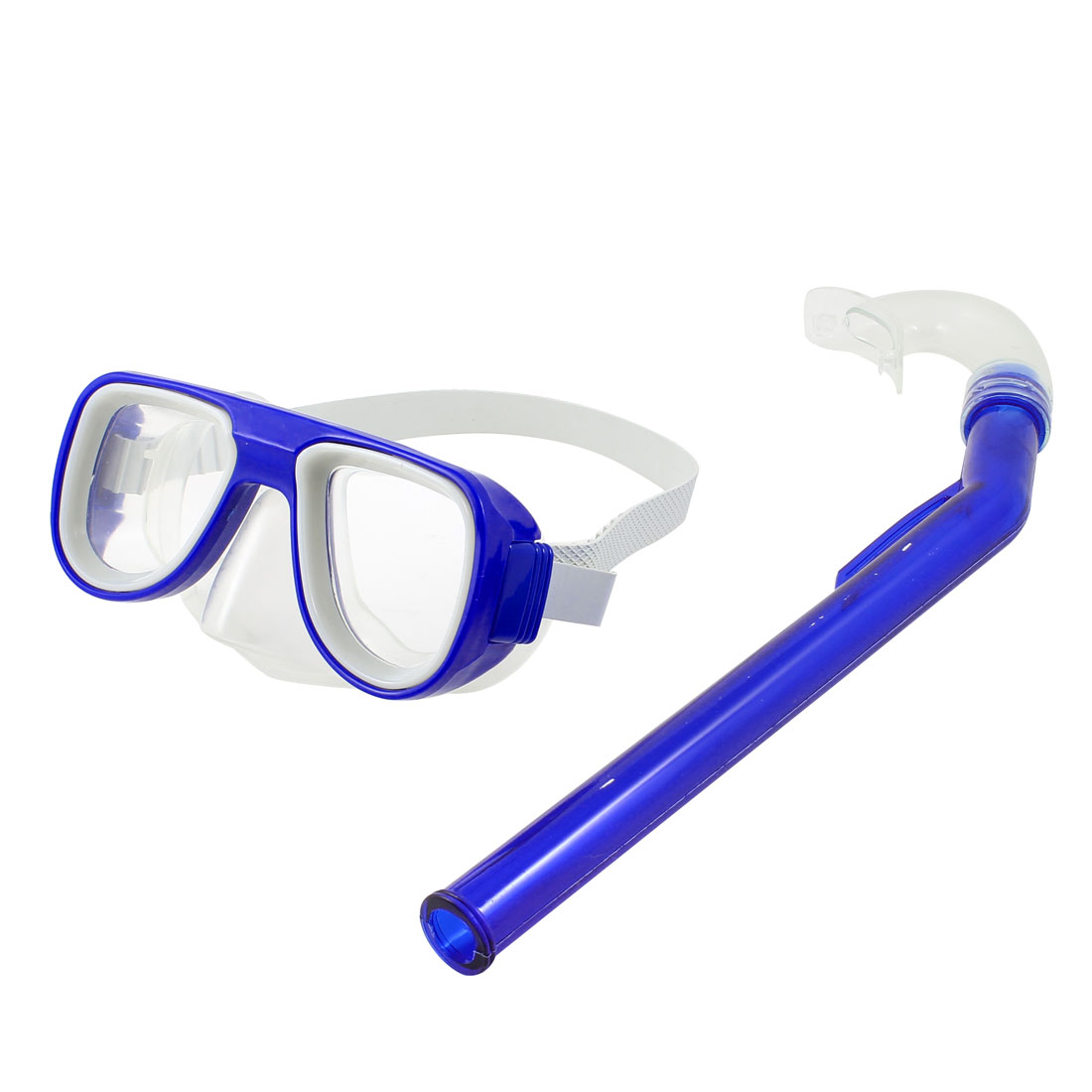 Adjustable Strap Clear Lens Blue Frame Swim Swimming Goggles w Snorkel