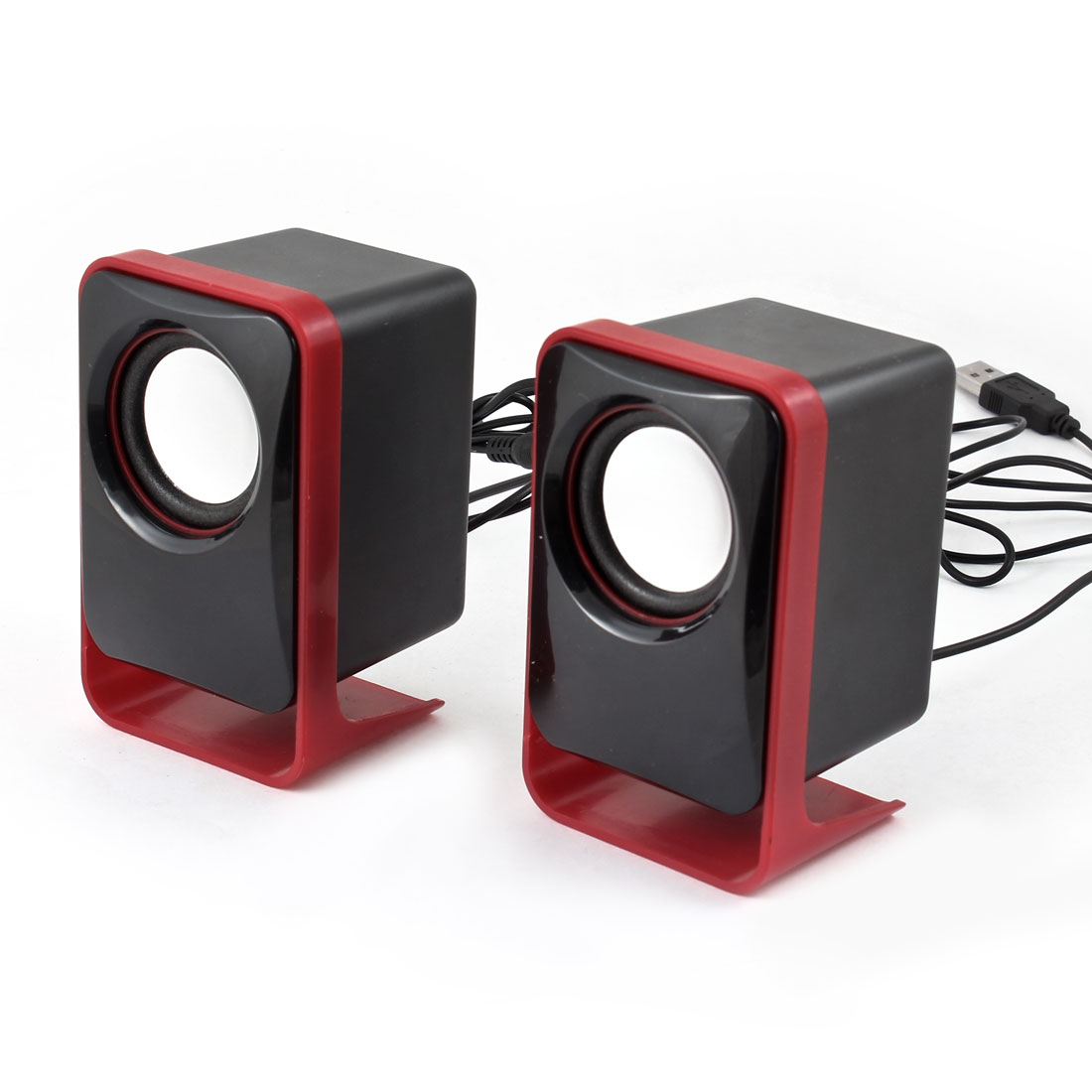 Laptop Volume Control Rectangle Shape 3.5mm Mini Speaker Red Pair