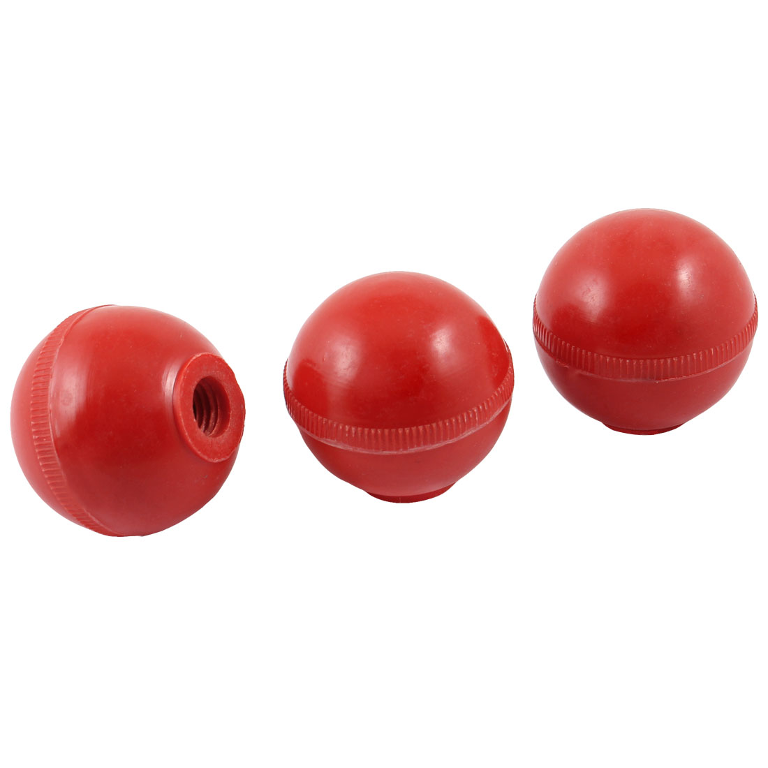 "3 Pcs 1.75"" Dia Red Plastic Balls Machine Handle Round Knobs Grip"