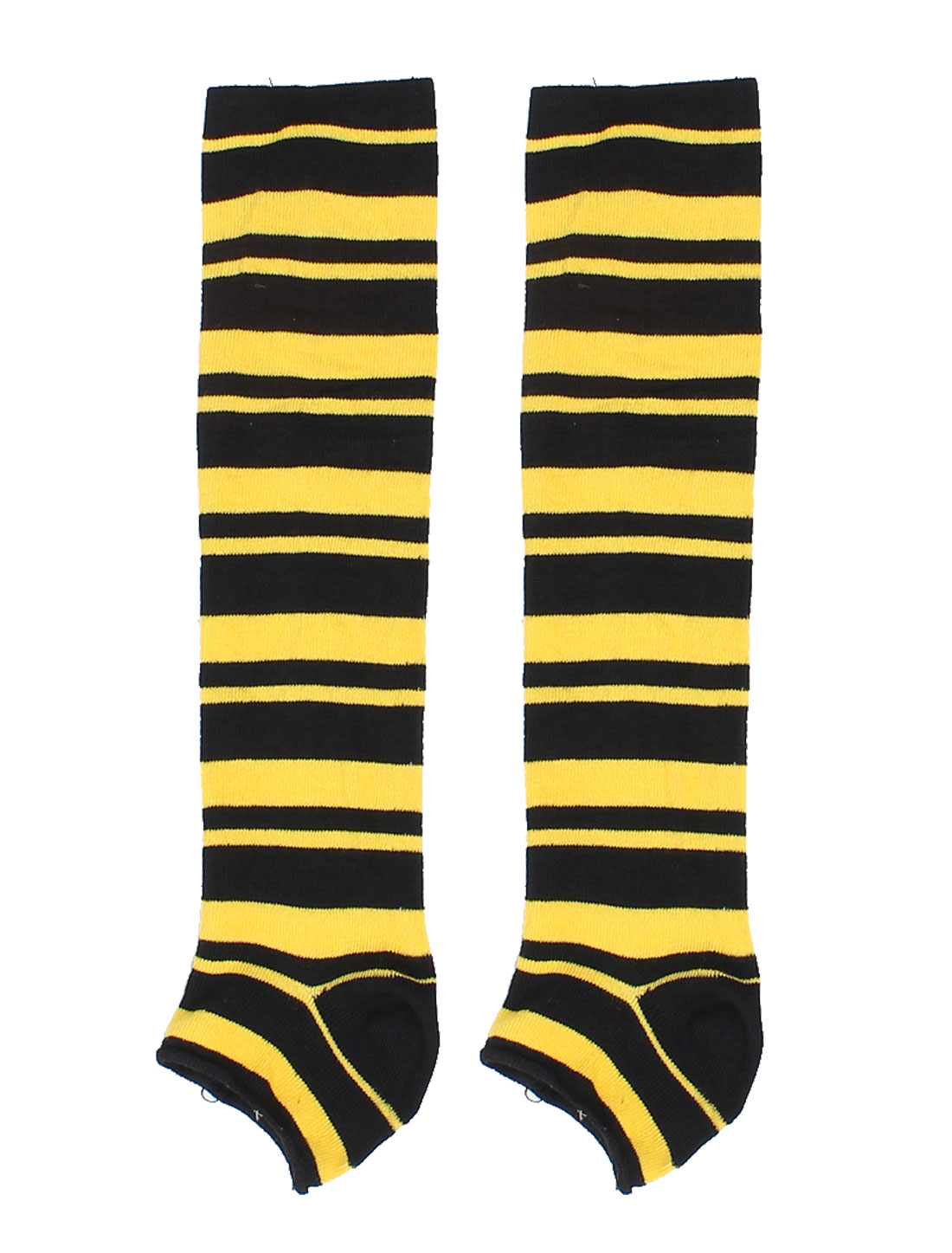 Women Yellow Black Striped Legging Leg Warmer w Boat Socks 1 Pair x Leg Warmer, 1 Pair x Boat Socks