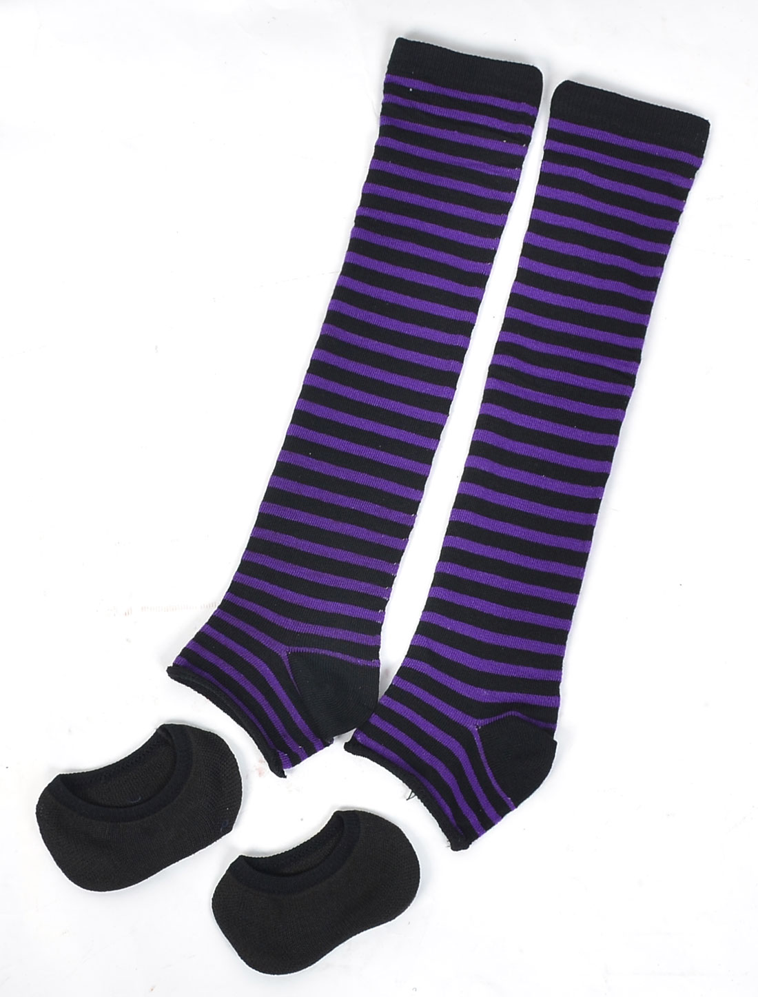 Woman Black Purple Stripe Pattern Elastic Toeless Leg Warmers w Boat Socks Pair
