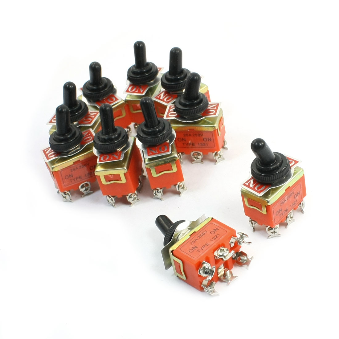 10Pcs Panel Mount DPDT On-On Dual Position Toggle Switch 250V 25A w Cover