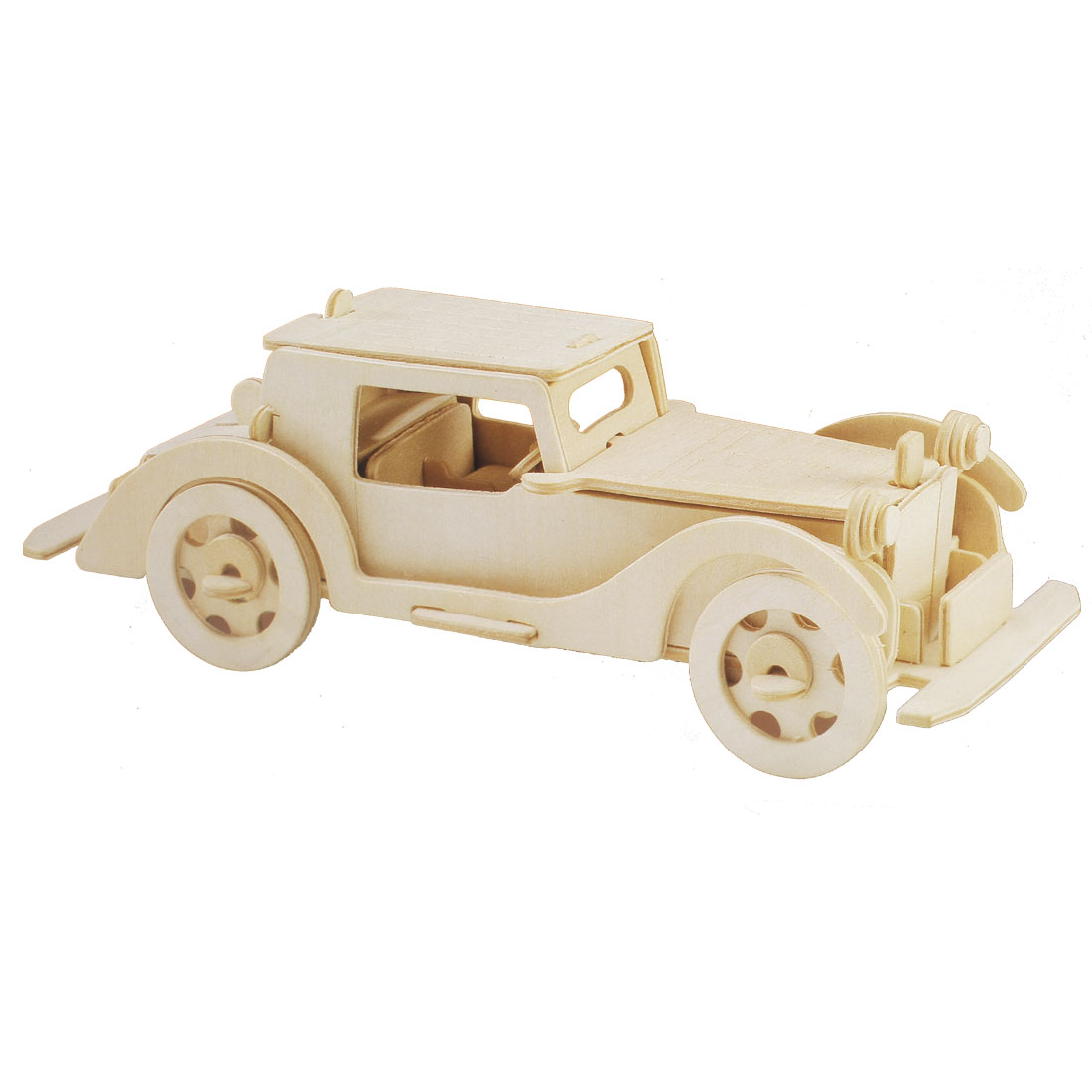 Plaything Wooden DIY Assembly Rolling Automobile Model Puzzle Toy