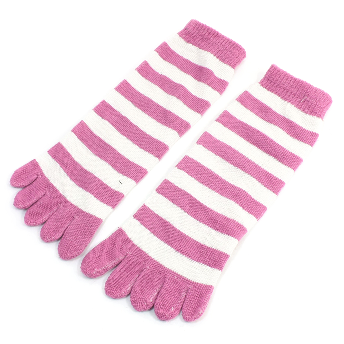 Pair Pink White Stripes Print Elastic Five Fingers Warm Toe Socks for Lady