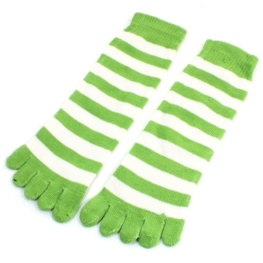 Lady Pair Green White Stripes Five Fingers Autumn Winter Warm Toe Socks