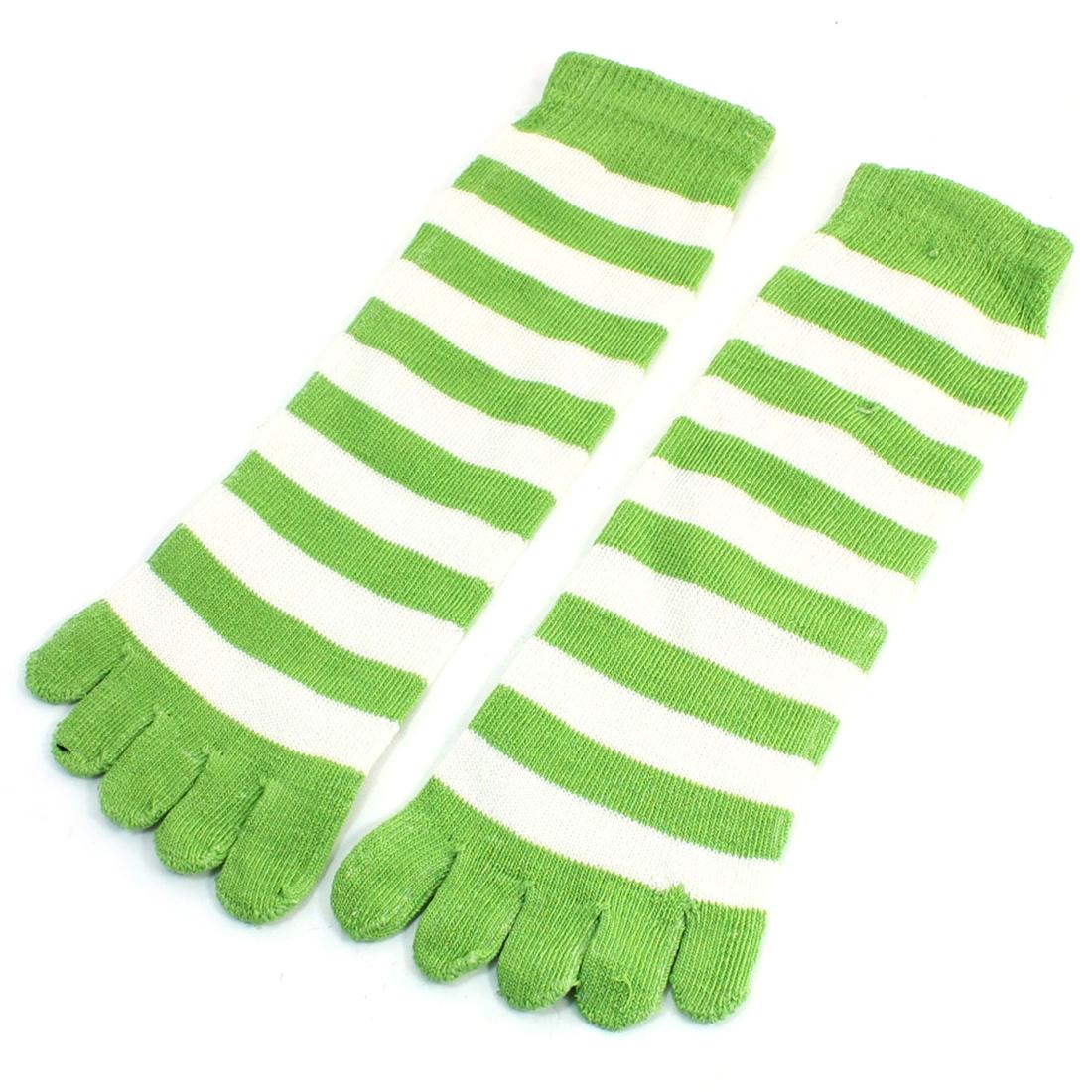 Lady Pair Green White Stripes Five Fingers Autumn Winter Warm Toe Socks