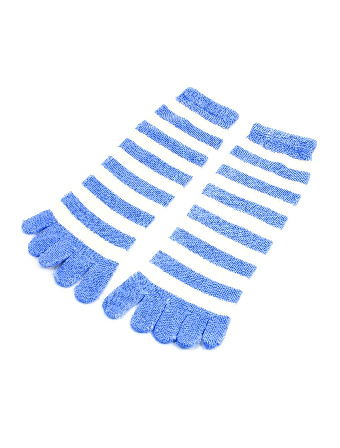 Woman Pair Blue White Stripes Five Fingers Autumn Winter Warm Toe Socks