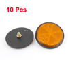 10 Pcs Motorcycle Scooter Plastic Round Reflective Reflector Orange