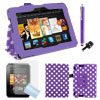 PU Leather Stand Case Purple + Film + Stylus + Dust for Kindle Fire HDX 7""