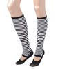 Woman Black White Stripe Prints Elastic Toeless Leg Warmers w Ankle Socks Pair