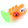 Infant Orange Green Plastic Trumpet Shape Rattle Shaking Bell Toy
