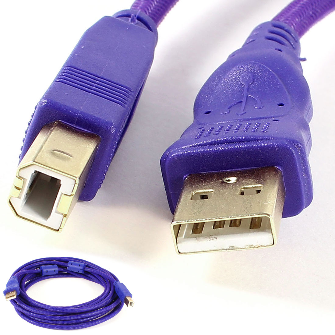 5M 16.4Ft USB 2.0 Type A Male to B Male High Speed Printer Data Cable Purple