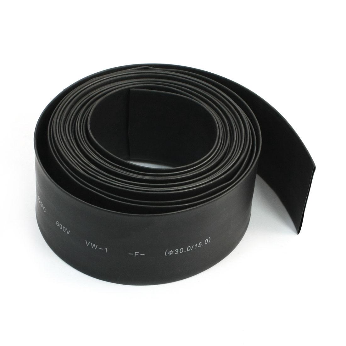 Black Heat Shrinkable Tubing Shrink Tube 15mm 30mm 5 Meters 600V 125C