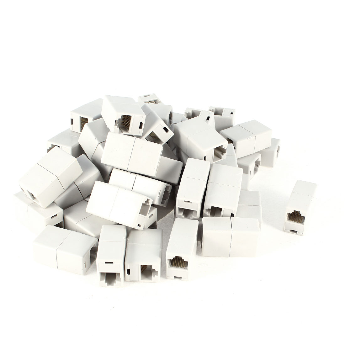 RJ45 F/F LAN Network Inline Splitter Extender Coupler Adapter Grey White 50 Pcs