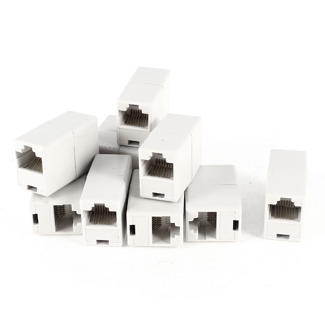 RJ45 F/F LAN Network Inline Splitter Extender Coupler Adapter Off White 10 Pcs