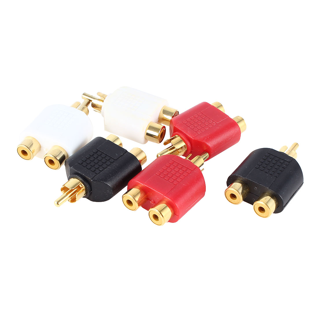 6 Pcs RCA Male to Double RCA Female Stereo Audio Convertor Connector