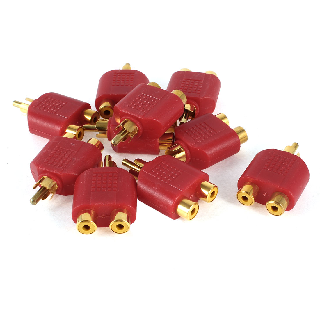 RCA Male to Dual RCA Female Stereo Audio Connector Splitter Red 10 Pcs
