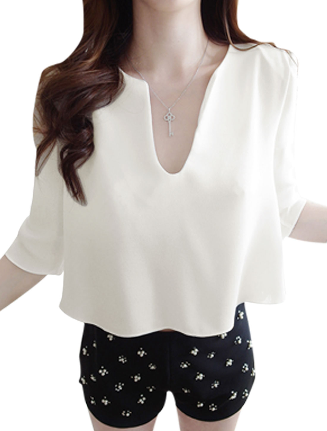 Women Sweet Style 3/4 Sleeve Dipped Hem Loose T-Shirt White XS