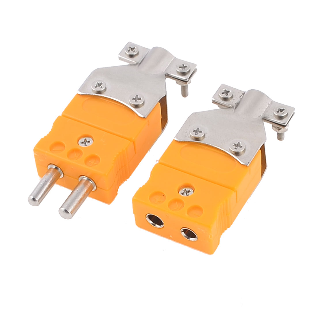 Screw Fixed K Type Male Female Sockets Thermocouple Orange