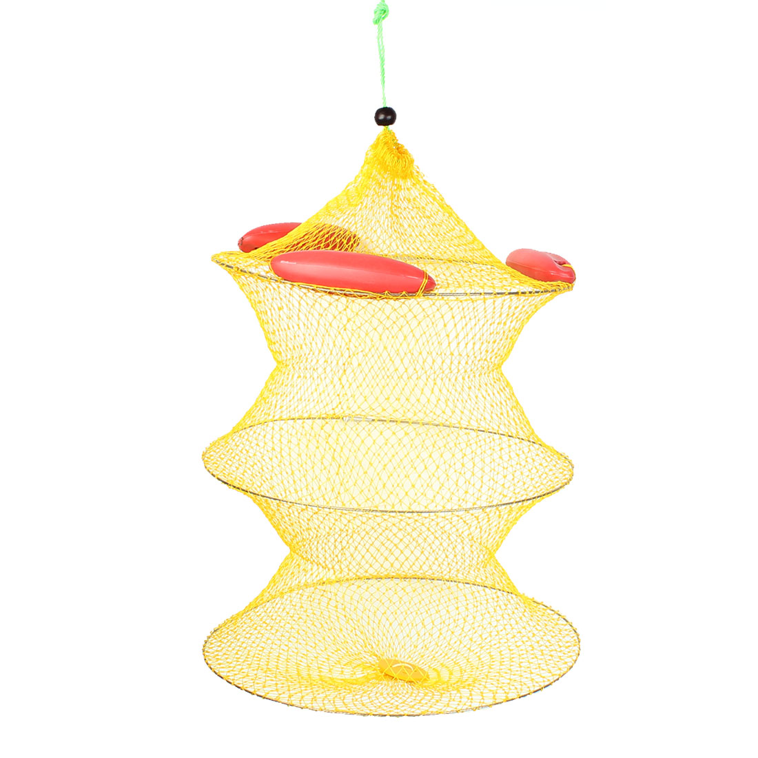 Metal Frame Nylon 3 Sections Lobster Fishing Fish Net Yellow