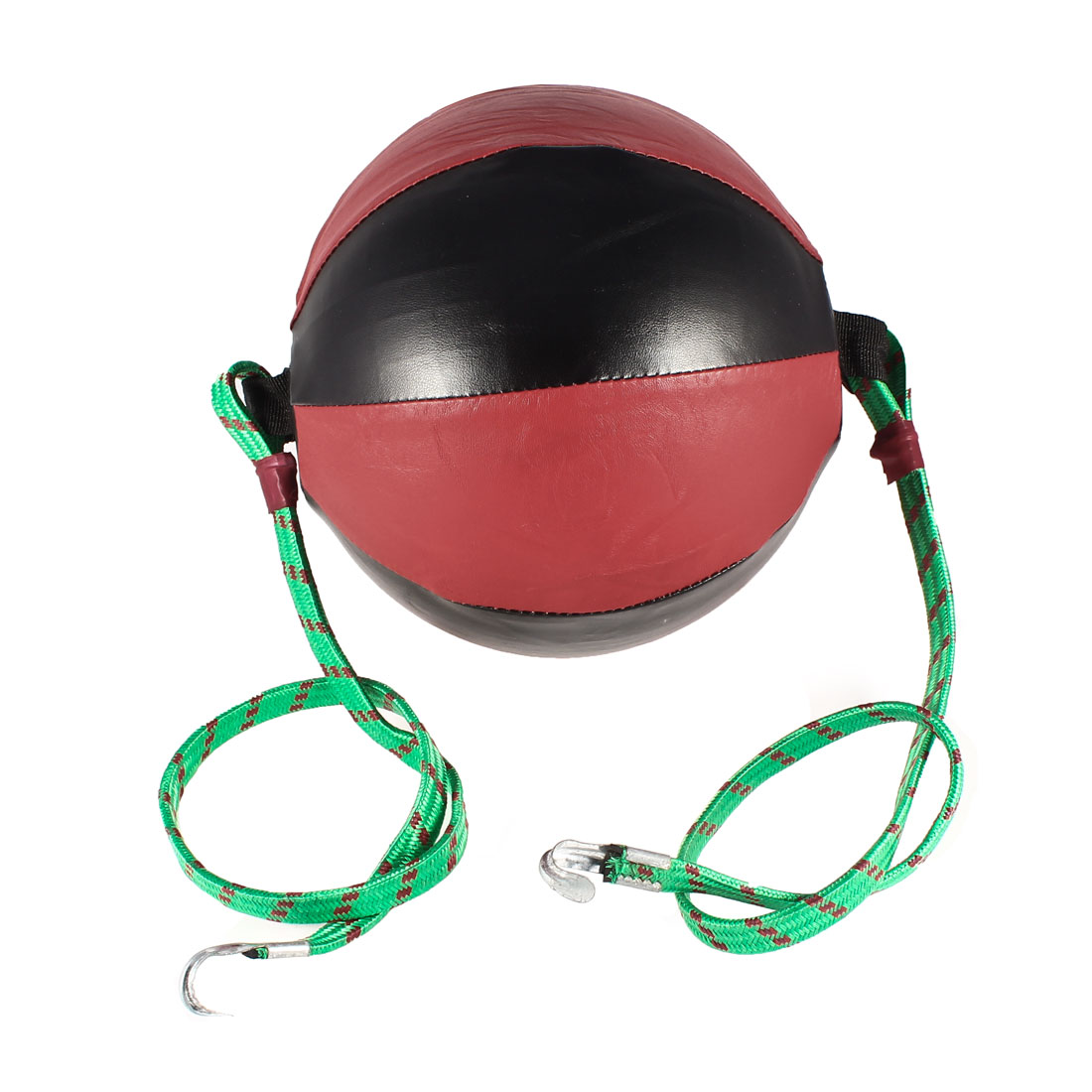 Kickboxing Sports Both End Faux Leather Boxing Speed Ball Red Black w Green Rope