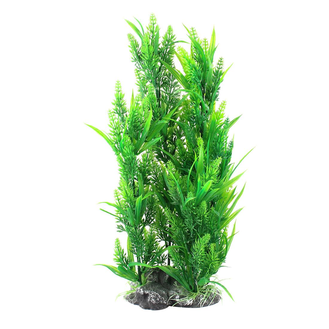 "Green Reed Grass Aquarium Emulational Plastic Plant Decor 15.7"" High"