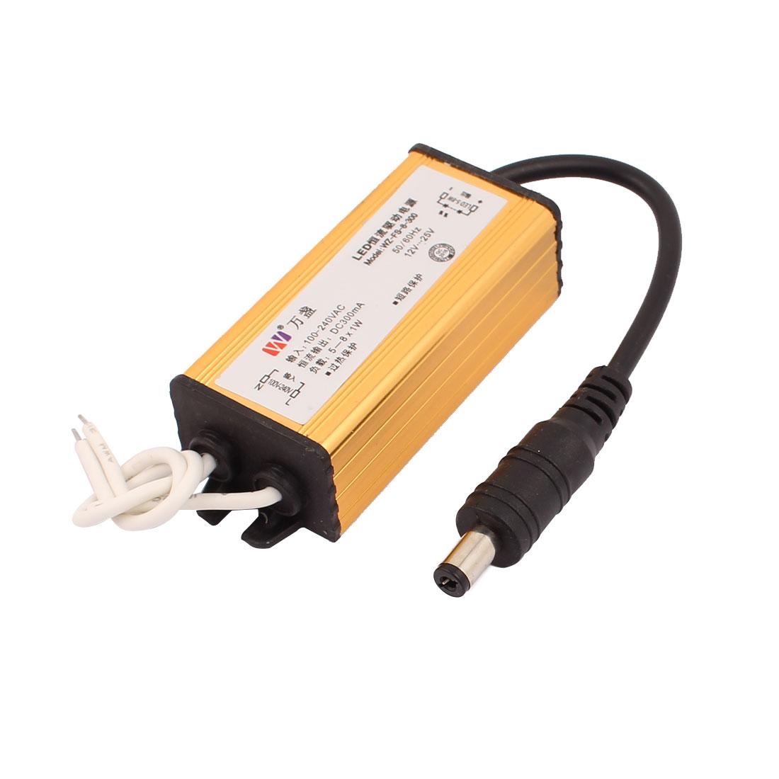 AC 100-240V 5~8W LED Light Driver Waterproof Power Supply Output DC 300mA