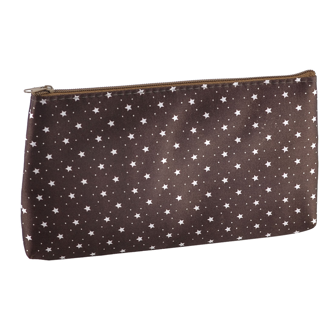 Lady Zipper Stars Pattern Brush Cosmetic Pouch Holder Bag Brown White