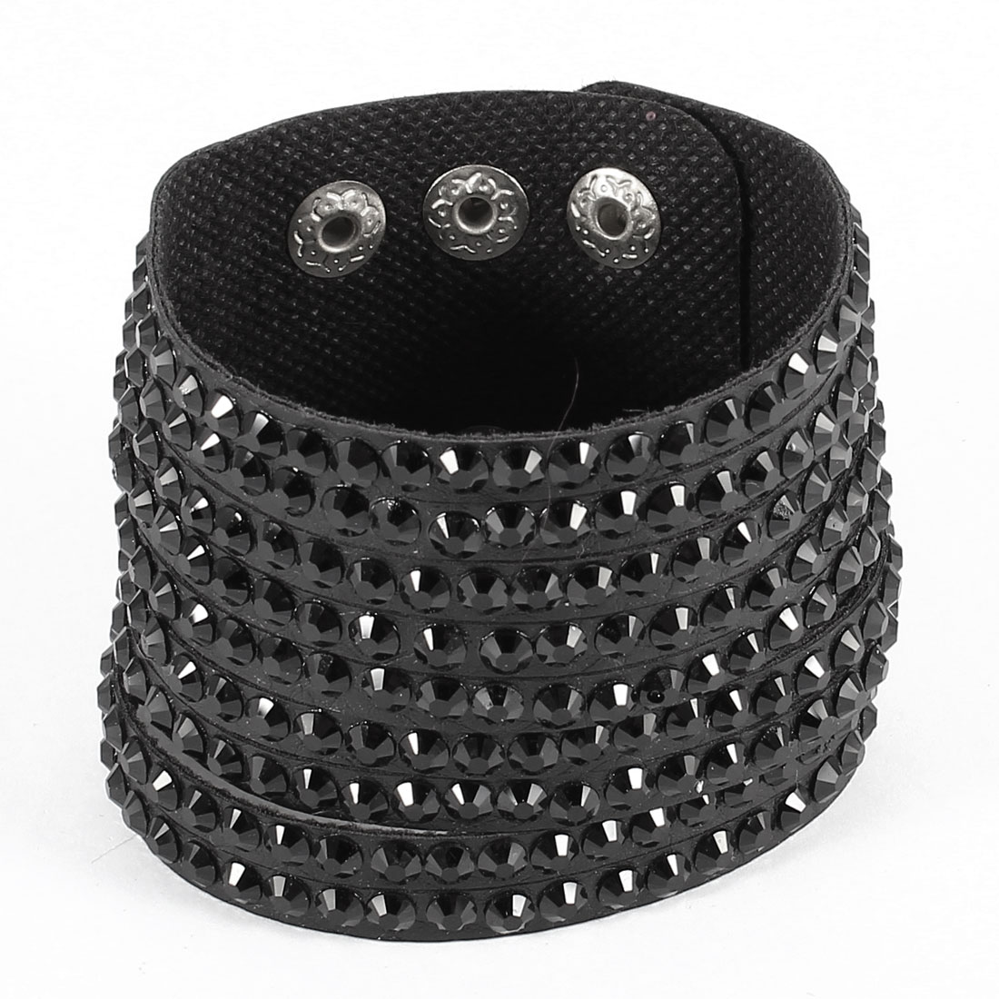 Black Plastic Crystal Studded Press Button Faux Leather Bracelet Bangle