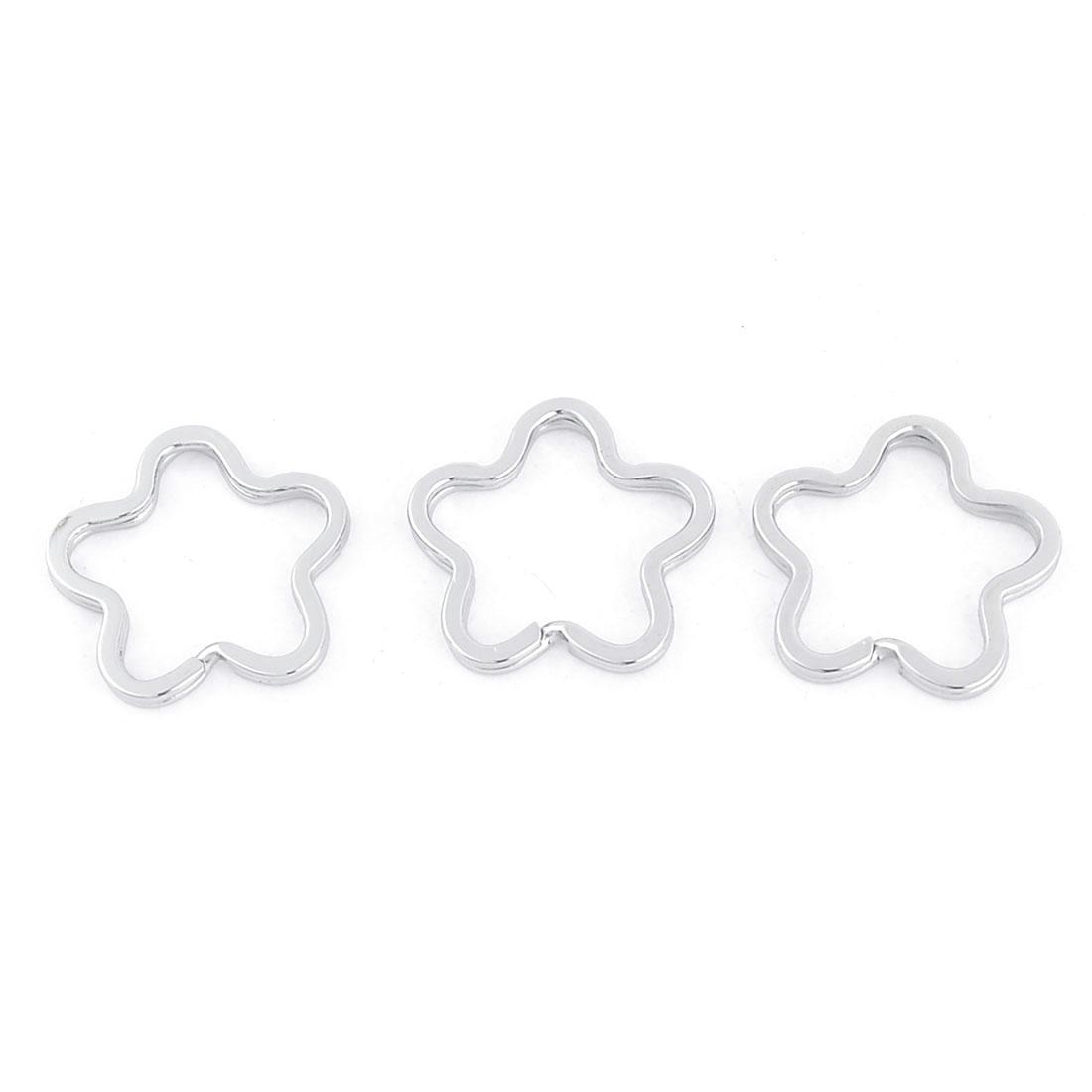 3 Pcs Flower Shape Glossy Metal Double Loop Split Ring Keyring 21mm
