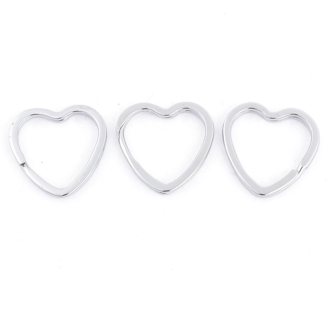 3pcs 21mm Outer Dia Heart Shape Double Loop Split Ring key Holder Keyring