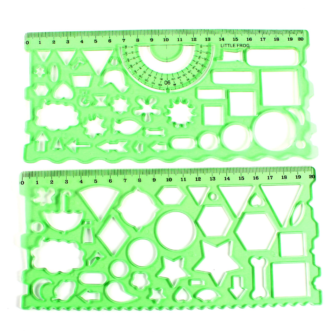 2pcs Student Teacher Clear Green Learning Drawing Template Ruler Guide