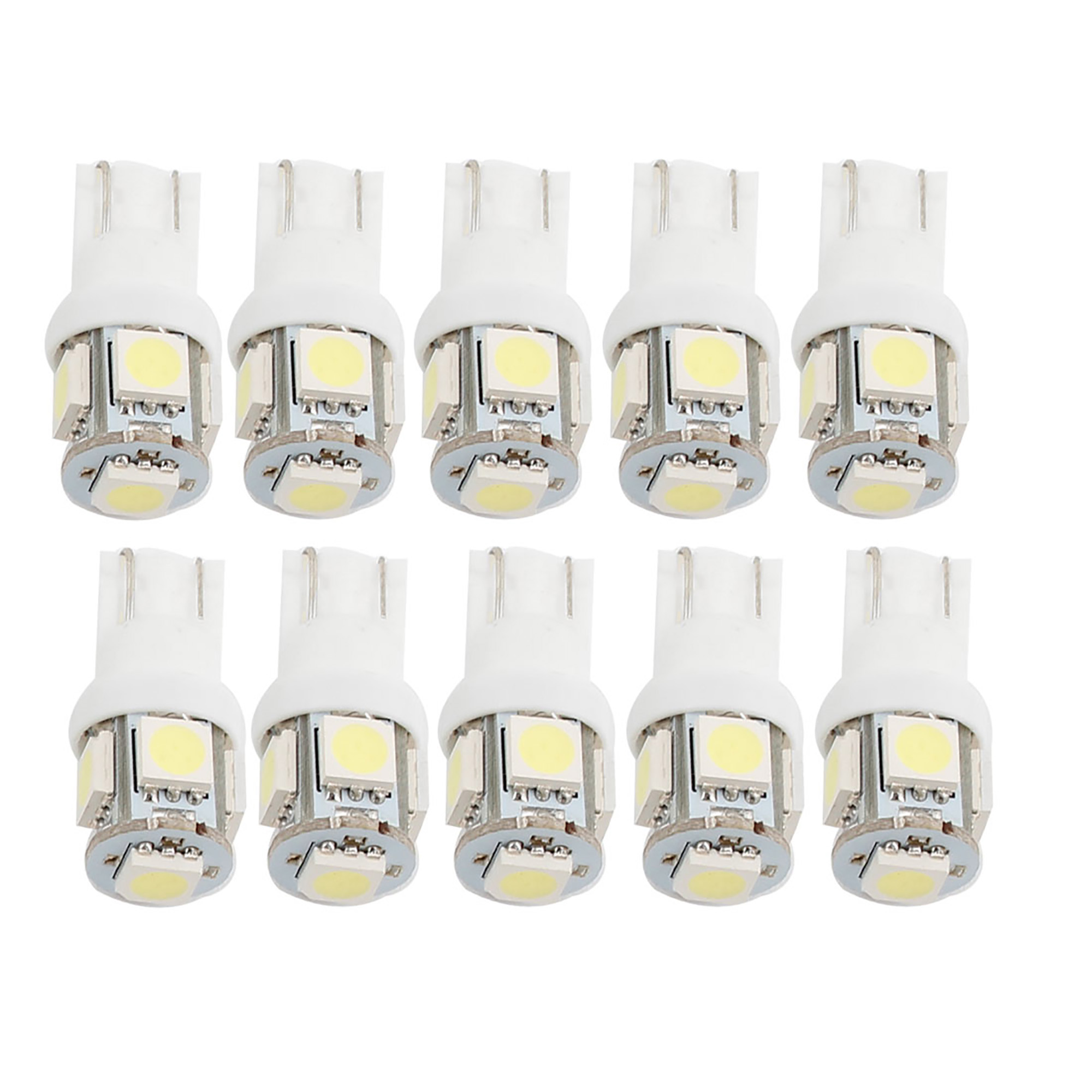 10 Pcs White 5050 SMD 5 LED T10 W5W 194 168 192 Car Signal Side Light Bulbs