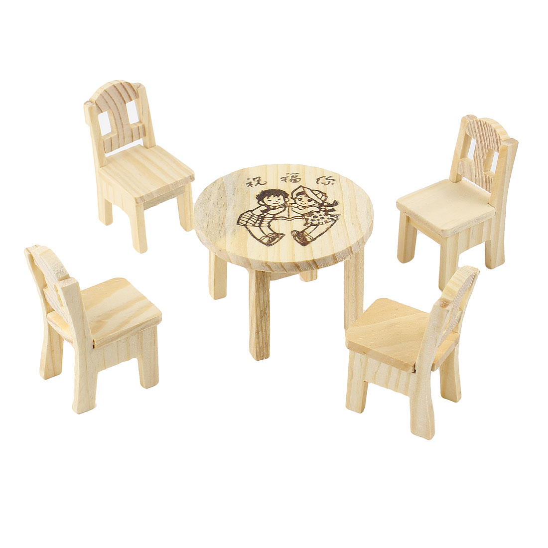 Blessing Words Printed Wooded Craft Table Chair Decor Set 5 in 1