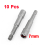 10 Pcs 65mm Length Magnetic Power 7mm Hex Socket Nut Setters Driver Bits