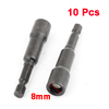 10 Pcs 65mm Length 8mm Black Hex Socket Nut Setters Driver Bits