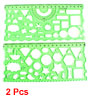 2pcs Clear Green Plastic Stationery Measuring Drawing Template Ruler Guide