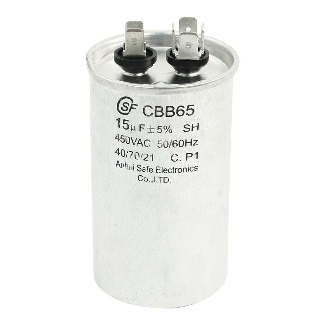 CBB65 450VAC 15uF Cylinder Shaped Polypropylene Film Motor Capacitor