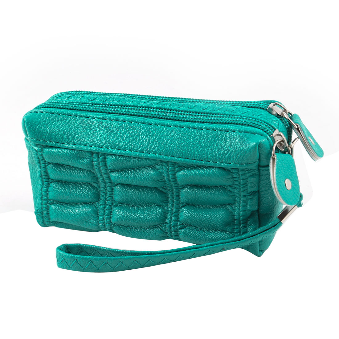 Women Dual Zip Up Money Keychain Phone Handbag Wallet Pouch Purse Green