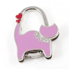 Rhinestone Decoration Cat Shaped Metal Foldable Handbag Hanger Pink