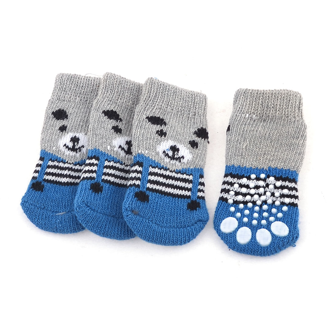 2 Pairs Blue Gray Bear Head Printed Knitted Stretchy Pet Dog Puppy Cat Socks