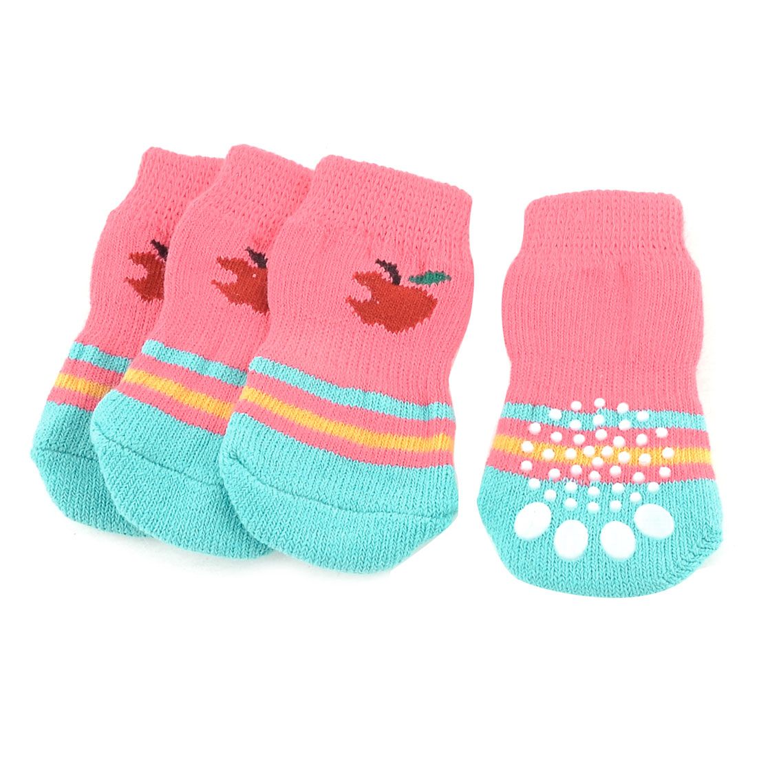 2 Pairs Fuchsia Cyan Knitting Apple Paw Pattern Elastic Cuff Pet Doggie Dog Socks