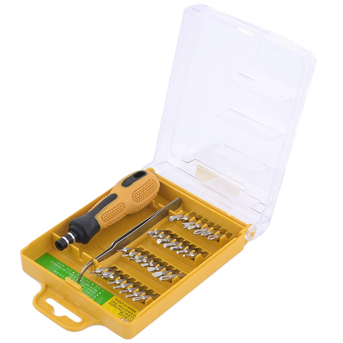 Black Yellow Nonslip Handle Phillips Hex Bits Screwdriver Tools 32 in 1