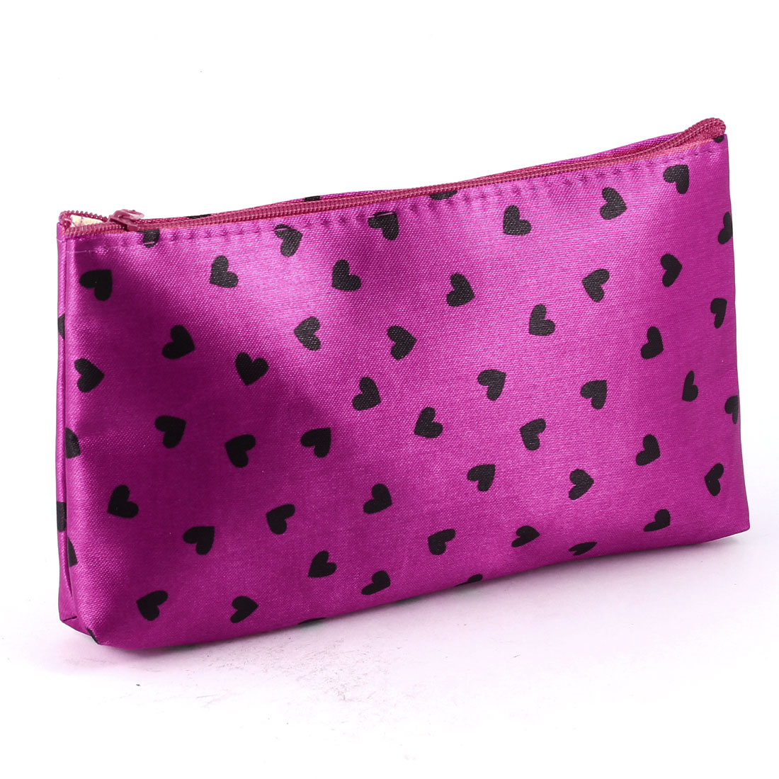 Black Heart Print Magenta Zipper Closure Cosmetic Makeup Bag Case w Mirror