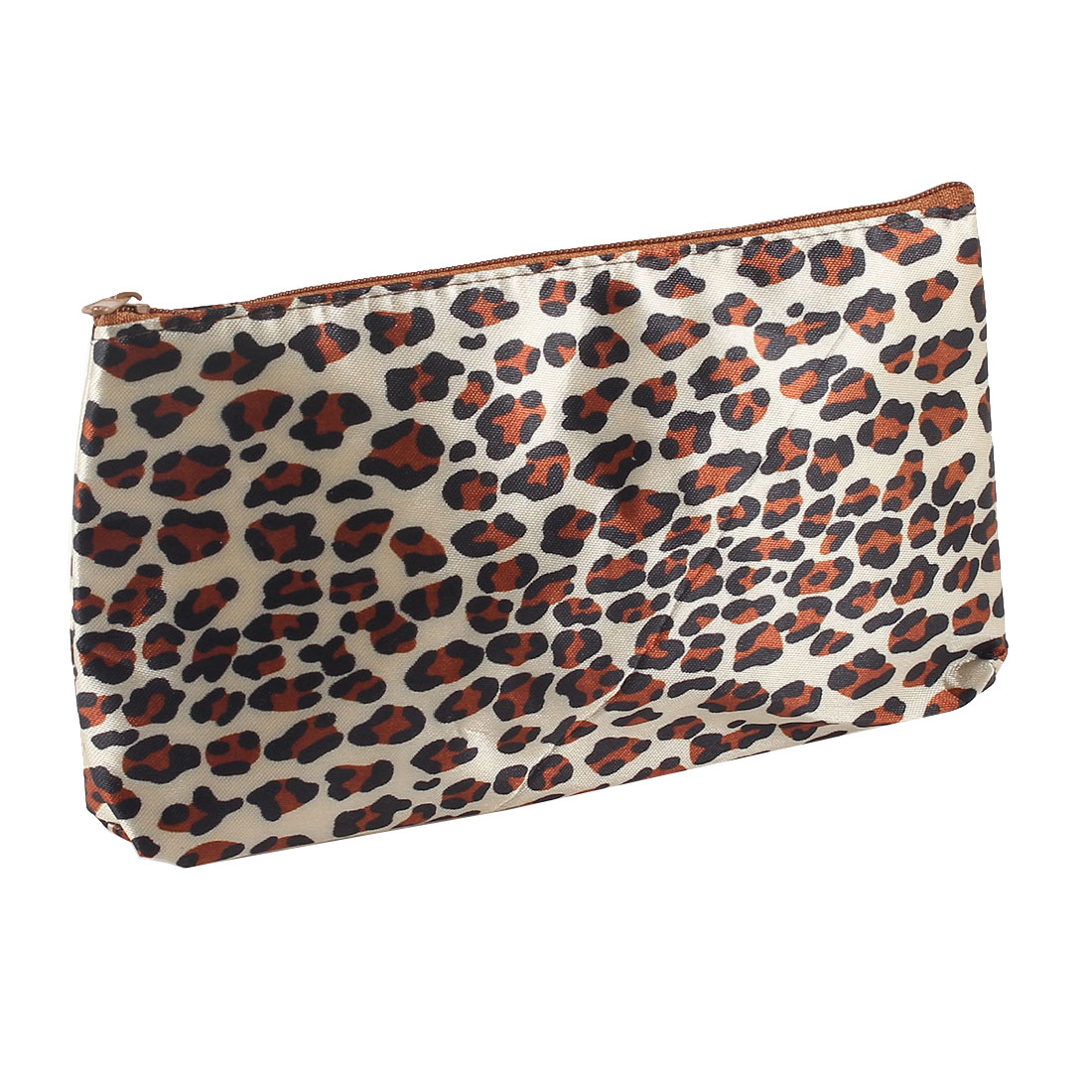 Black Brown Leopard Print Zipper Closure Cosmetic Makeup Bag Case w Mirror